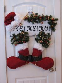 Handmade Christmas Decoration Door Hanger Santa Hat and Boots Says HO HO HO (sold) - RBCrafts