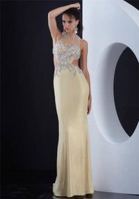 Long Yellow Beaded Jasz Couture 5471 Open Back Prom Dress