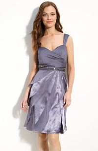 Adrianna Papell Beaded Chiffon & Satin Flutter Skirt Dress (Petite) available at #Nordstrom $158