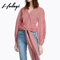 Vogue Slimming Curvy Bishop Sleeves V-neck Fall Tie 9/10 Sleeves Stripped Blouse - Bonny YZOZO Boutique Store