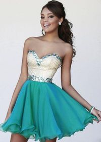 Sale Sparkly Beading Bust Short Teal Cocktail Prom Dress 2015