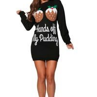 Ladies Women's Christmas �€œHands off my Pudding�€ Party Xmas Novelty Knitted Tunic Retro Crew, Scoop, Round Neck Dress Jumper Top £14.99