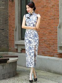 Blue Floral Qipao / Cheongsam Dress with Split Front