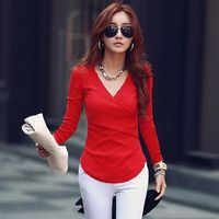 Women Long Sleeve Tshirts 2018 Deep V Neck Tops Woman Knitted Cotton T Shirt Womens Tee Shirt Femme Plus Size Camisetas Mujer $31.71