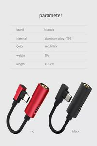 Mcdodo 2 in 1 Type-C Audio Cable Adapter Type-C to 3.5mm Jack Audio USB C Earphone Adapter for Samsung S9 Xiaomi Huawei P20