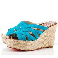 Christian Louboutin Crepon 100mm Turquoise Women Wedges