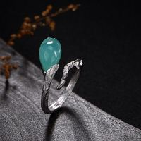 Green natural Tianhe Stone Ring / 925 Silver Inlay Ring / Branch Open Ring/boho ring Ask a question