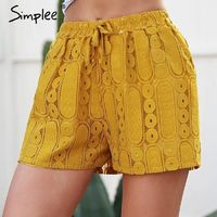 Simplee hollow out lace mini shorts femme Casual tie up yellow shorts summer Fashion elastic waist women shorts $49.47