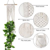 Macramé Plant Hanger Cradle Wood rod top $27.95