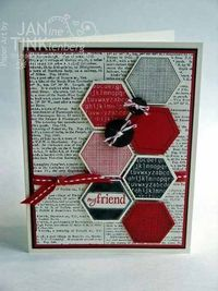 Ingredients: Stamps - Six-Sided Sampler, Dictionary; Paper - Real Red, Basic Black, Very Vanilla; Ink - Real Red, Basic Black; Other - Hexagon punch, Neutrals buttons, Real Red stitched grosgrain ribbon, Cherry Cobbler baker's twine, dimensionals