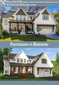 Architectural Designs Modern Farmhouse Plan 14654RK has 3 beds and 3.5 baths and over 3,400 square feet of heated living space PLUS an optional finished lower level. Ready when you are. Where do YOU want to build? #14654RK #adhouseplans #architecturaldesi...