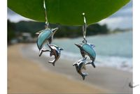 Double Dolphin Hanging Earrings(24x12 mm) - Larimar