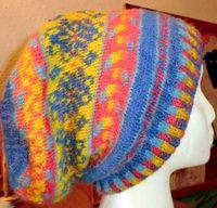Fair Isle Hat with dyed oranges and yellows with marigolds