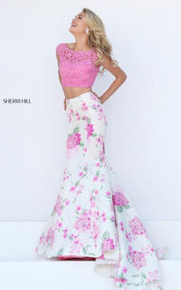 Sherri Hill 50435 Pink/Ivory Print Two Piece Evening Gown Sale
