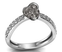 Engagement Ring White Gold Contour Love Flower Curved 18K Ring Rose Gold with Side Diamonds Floral ring Birthday Gift For Her graduation $475.00