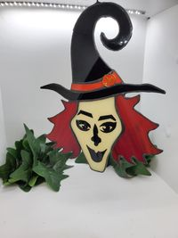 Stained Glass Halloween Witch $44.99
