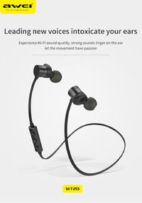 AWEI WT20 Wireless bluetooth Earphone Magnetic Adsorption Stereo Sports Headphone with Mic