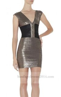 Gunmetal Black Foil Print Cheap Bandage Dress
