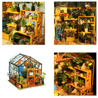 1: 24 DIY Miniature Flower House with LED, Educational Toy, Wooden Miniature, DIY Hobby, Gifts Mini Green House $82.30