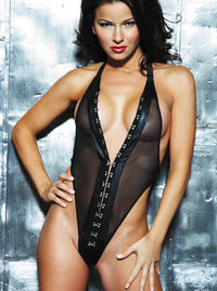 17842 Leather and Powermesh Teddy The sheer mesh of this teddy is incredibly enticing and offers promises of things to come. The hook amp; eye front opening and leather trim make it even sexier. The elastic neck and back ensure a gre http://www.comparesto...