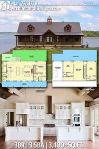 Architectural Designs House Plan 77637FB has porch in front and deck in back each spanning the entire width of the home | 3BR | 3.5BA | 3,400+SQ.FT. Ready when you are. Where do YOU want to build? #77637FB #adhouseplans #architecturaldesigns #houseplan #a...