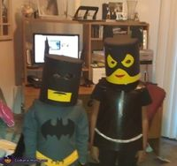 Lisa: I got this idea from my son's Legos. He is a huge fan of legos so I knew what he was going to be, and Cat women was for my...