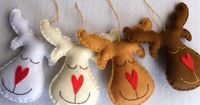 Set of 4 Reindeers Christmas ornaments by acasadoguaxinim on Etsy,