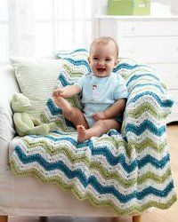 This brightly colored Striped Chunky Blanket is great for keeping baby nice and warm! Worked up in a chunky yarn, this blanket is quick and easy to make and is