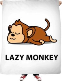 ROFB Lazy Monkey Fleece Blanket $65.00