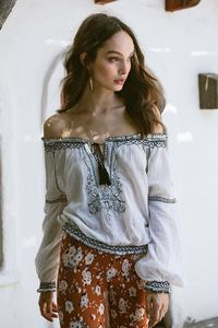 Holiday Embroidery Shirt Off Shoulder Waist Doll Top $38.00