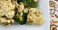 Oven-Roasted Pesto Broccoli and Cauliflower: only 3 ingredients and 20 minutes! The perfect side dish...