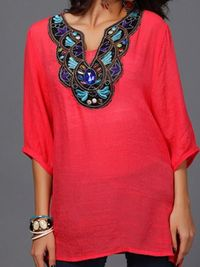 Women Blouses Casual Half Sleeve Embroidery Loose Top $23.28