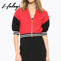 Vogue Split Front Solid Color 1/2 Sleeves Jersey Zipper Up Spring Casual Coat - Bonny YZOZO Boutique Store
