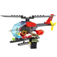 ABS Firefighter Helicopter Building Block DIY Model for Kids 89pcs $7.64