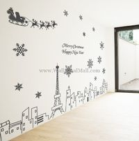 Christmas Landscape In Paris Wall Decals
