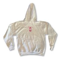 """THIGHBRUSH® - """"Tickled Pink"""" - Unisex Hooded Sweatshirt - White and Pink $40.00"""