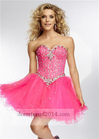 Short Pink Beaded Corset Prom Dresses Sale