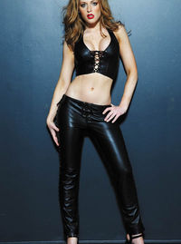 17847 Leather Lace Up Pants Made from the softest leather, these pants fit like a second skin. The low rise elongates the torso and emphasizes curves. The ultra-sexy lace-up sides reveal a tantalizing glimpse of bare leg, and th http://www.comparestorepri...