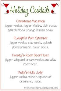 Holiday Cocktail Menu ~ look