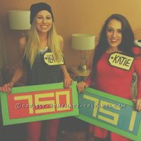 For this The Price is Right Contestant's Row couple costume, I cut up a large UHAUL box until I liked the size that I wanted the bidders row to be. I used