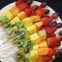 Fruity Fun Skewers Recipe....easiest way to keep your fruits from browning is to place them in a bowl with Sprite (or any lemon/lime soda combo) so that they all get wet and then skewer them. It is a lot better than adding lemon juice because the ...
