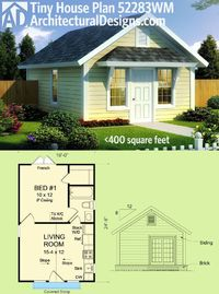 Architectural Designs Tiny House Plan 52283WM gives you a vaulted living area�€�