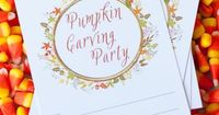 Download your free pumpkin carving party printables and recipe cards at The Sweetest Occasion!