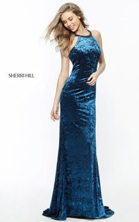 SHERRI HILL TEAL 51424 VELVET HALTER FITTED BEADED TRAIN LONG EVENING DRESS
