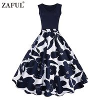 ZAFUL 4 Color S-5XL Floral Print High Waist Retro Vintage Dresses $32.25