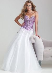 2014 Sweetheart Strapless Heavily Beaded Purple White Ball Gown