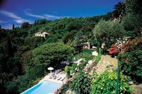 A poolside view of the Hotel Splendido Portofino in Italy.