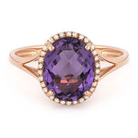 2.64ct Checkerboard Cut Amethyst & Round Diamond Oval Halo Right-Hand Ring in 14k Rose Gold