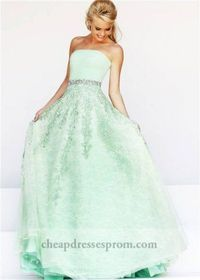 Beaded Green Embroidered Lace Ball Gown Dresses