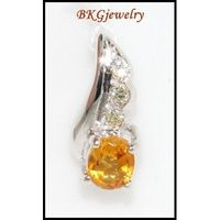 Pendant Diamond Citrine Gemstone Eternity 18K White Gold [P0060]